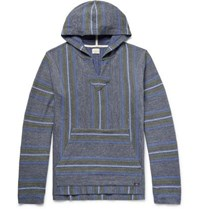 Faherty Baja Striped Cotton Hoodie Dark Gray