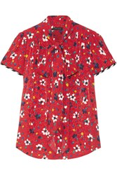 Marc Jacobs Pussy Bow Floral Print Silk Jacquard Blouse Red