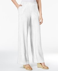 Jm Collection Petite Pull On Wide Leg Crinkle Pants Only At Macy's Bright White