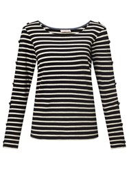 Maison Scotch Long Sleeve Breton T Shirt Black Melange