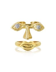 Bernard Delettrez Face 9K Gold Midi Ring Two Pieces W Eyes Nose And Mouth