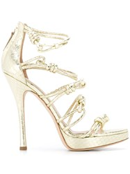 Alberta Ferretti Knotted Stiletto Sandals Metallic