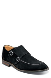 Stacy Adams Balen Moc Toe Double Strap Monk Shoe Black Suede