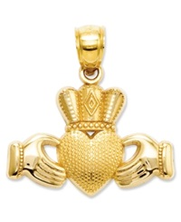 Macy's 14K Gold Charm Claddagh And Textured Crown Charm