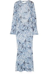 Georgia Alice Giselle Open Back Printed Cotton And Silk Blend Crepon Maxi Dress Blue