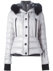 Moncler Grenoble Coyote Fur Trim Padded Jacket Grey