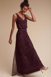 Anthropologie Aubrey Wedding Guest Dress Dark Purple