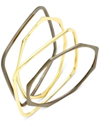 Alfani Two Tone Geometric Bangle Bracelet Set