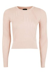Topshop Varied Rib Crop Top Pale Pink