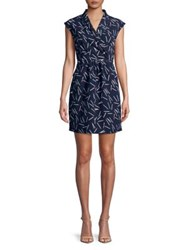 Molly Bracken Printed Wrap Dress Navy Blue