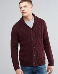 Brave Soul Shawl Neck Cardigan In Cable Knit Red