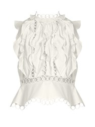 Zimmermann Winsome Lace And Ruffle Panelled Peplum Blouse White