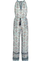 Talitha Embroidered Printed Silk Georgette Jumpsuit Blue
