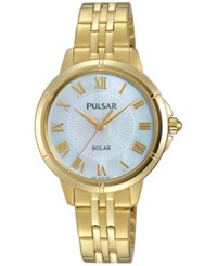 Pulsar Womens Solar Dress Gold Tone Stainless Steel Bracelet Watch 31Mm Py5008