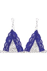 Fleur Du Mal Charlotte Polka Dot Satin And Lace Soft Cup Triangle Bra Royal Blue
