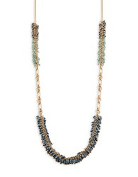 Nanette Lepore Beaded Chain Link Necklace Blue
