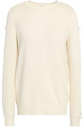 Sonia Rykiel Button Detailed Silk And Cotton Blend Sweater Ivory