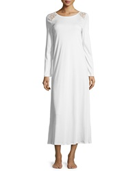 Hanro Clotilde Lace Shoulder Long Sleeve Gown Off White
