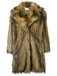 Red Valentino Faux Fur Coat Brown