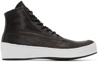 Nude Mm Black And White Leather High Top Sneakers