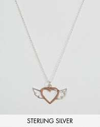 Asos Rose Gold Sterling Silver Heart Wing Necklace Rose Gold Copper