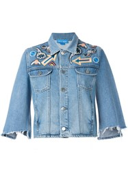 Mih Jeans Arch Denim Jacket Customised By Nicole Huisman Blue