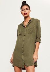 Missguided Khaki Buckle Sleeve Military Shirt Dress