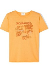 Solid And Striped Woodstock Printed Cotton T Shirt Yellow