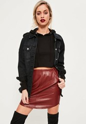 Missguided Red Curve Hem Zip Back Faux Leather Skirt Burgundy