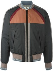 Andrea Pompilio Striped Detailing Bomber Jacket Grey