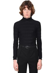 Saint Laurent Lurex Cotton Jersey Turtleneck Sweater Black