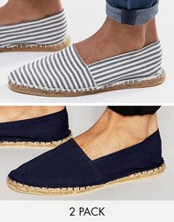 Asos Canvas Espadrilles In Navy And Blue Stripe 2 Pack Save Multi