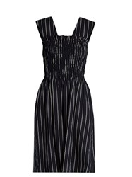 Trademark Dylan Striped Wool Blend Dress Navy