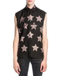 Saint Laurent Bleached Star Sleeveless Shirt Black