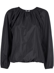 The Row Elasticated Cropped Sleeve Blouse Black