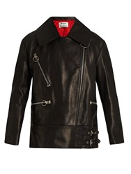 Acne Studios Morely Oversized Leather Jacket Black