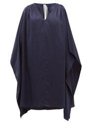 Loup Charmant Juno Cut Out Shoulder Silk Kaftan Navy