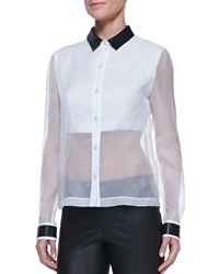 Robert Rodriguez Leather Collar Sheer Solid Organza Blouse Women's