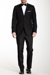 Zanetti Solid Black Two Button Notch Lapel Slim Fit Wool Suit
