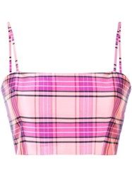 Christian Siriano Plaid Cropped Top Pink