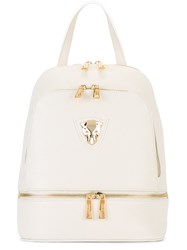 Baldinini Gold Tone Zips Backpack White