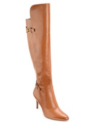 Lauren Ralph Lauren Philena Leather Knee High Boots Polo Tan