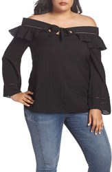 Lost Ink Plus Size Ruffle Tie Off The Shoulder Top Black