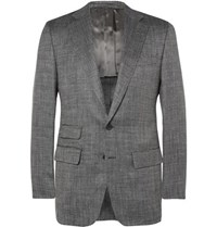 Thom Sweeney Grey Slim Fit Wool Silk And Linen Blend Suit Jacket Gray