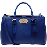 Mulberry Bayswater Small Leather Double Zip Shoulder Bag Neon Blue