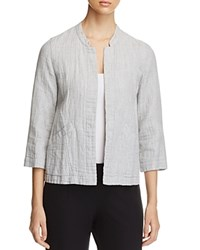 Eileen Fisher Organic Stretch Cotton Mandarin Collar Jacket Dark Pearl