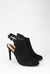Forever 21 Faux Suede Cutout Booties Black