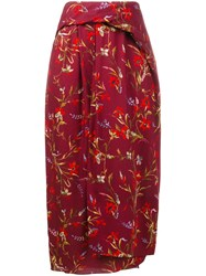Balenciaga Cristobal Poppy Printed Midi Skirt Red