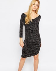 Ichi Diamond Print Bodycon Dress Black