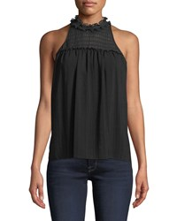Ramy Brook Louisa High Neck Ruffle Sleeveless Top Black